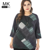 Miaoke 2018 womens Casual long sleeve oversized t shirt women High Quality Fashion Ladies Plus Size Geometric print top tees
