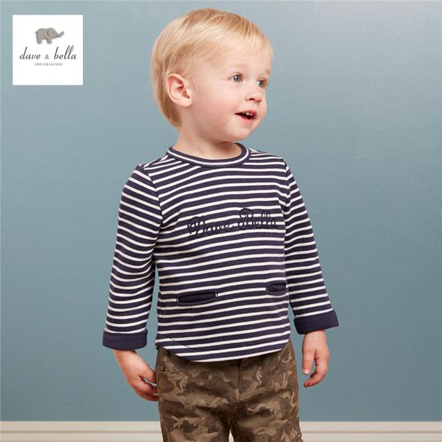 DB3981 dave bella otoño balck rayada blanca de los bebés t-shirt kid tee chicos striped top t shirt