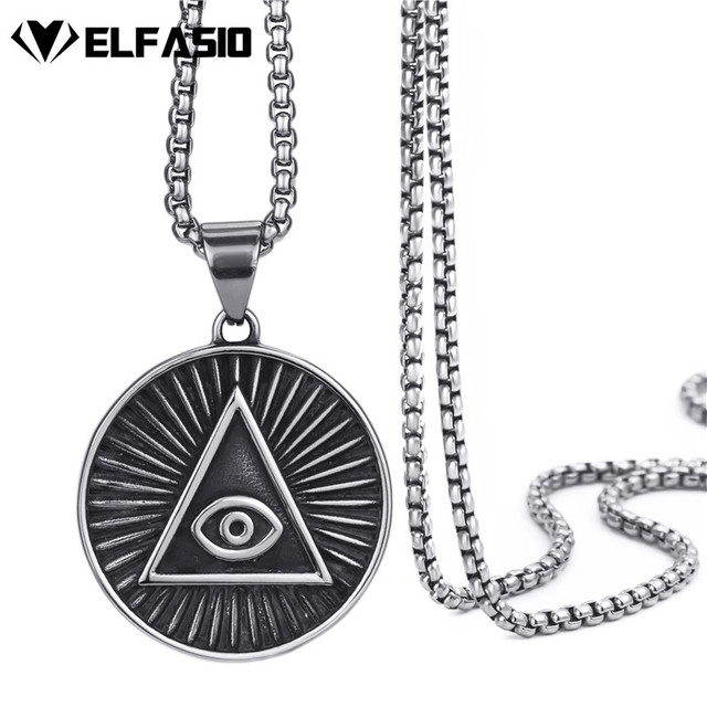 Mens Stainless Steel Pendant Necklace Illuminati The All Seeing Eye