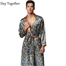Summer Luxury Satin Pajamas Bathrobe Print Kimono Robes V-neck Faux Silk Male Chinese Robe Nightwear Man