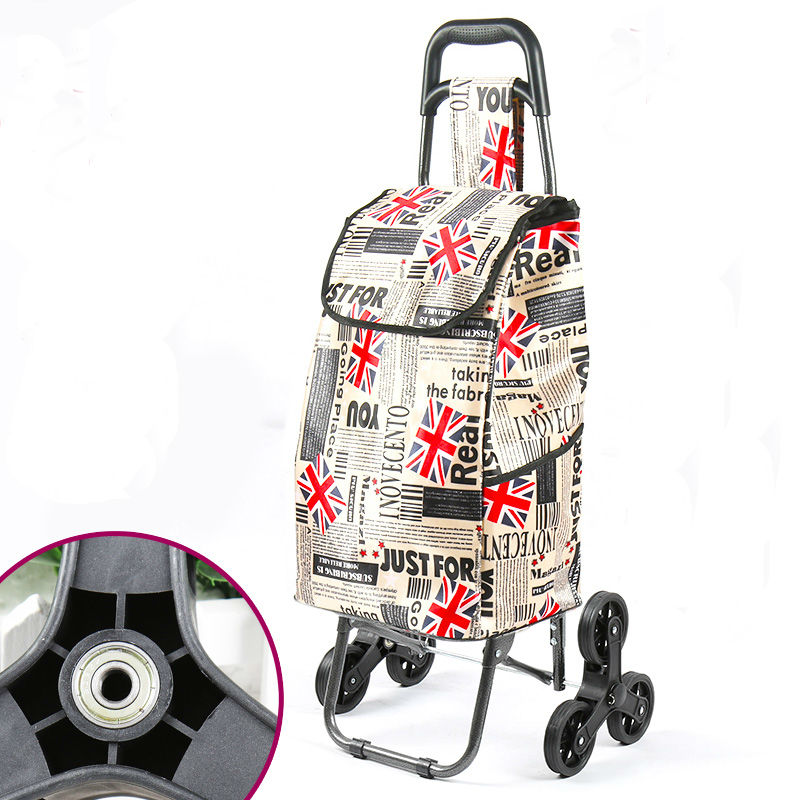 Foldable Shopping Cart With Wheel Thicken Rod Luggage Climbing Trolley Heavy Bearing Portable Waterproof Printed Shopping Bag