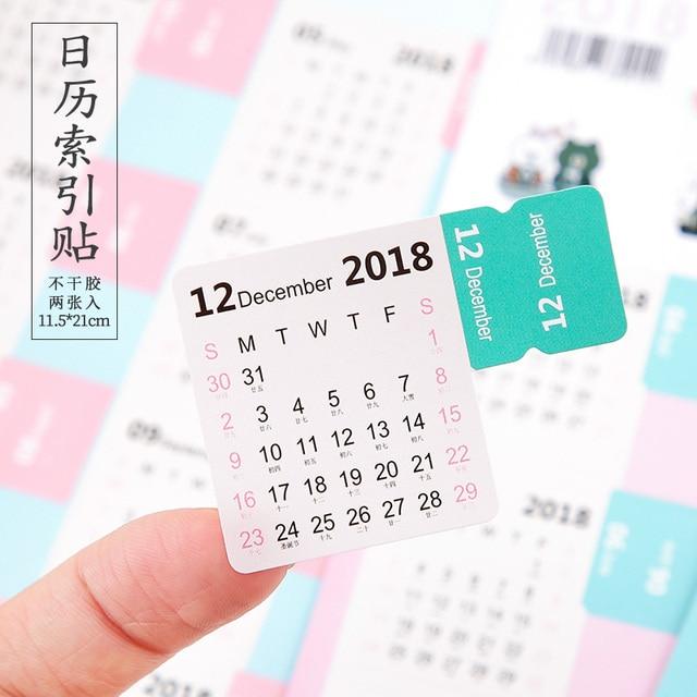 8pcs 2018 9 2019 11 Calendar Cute Calendar Index Sticker Diary