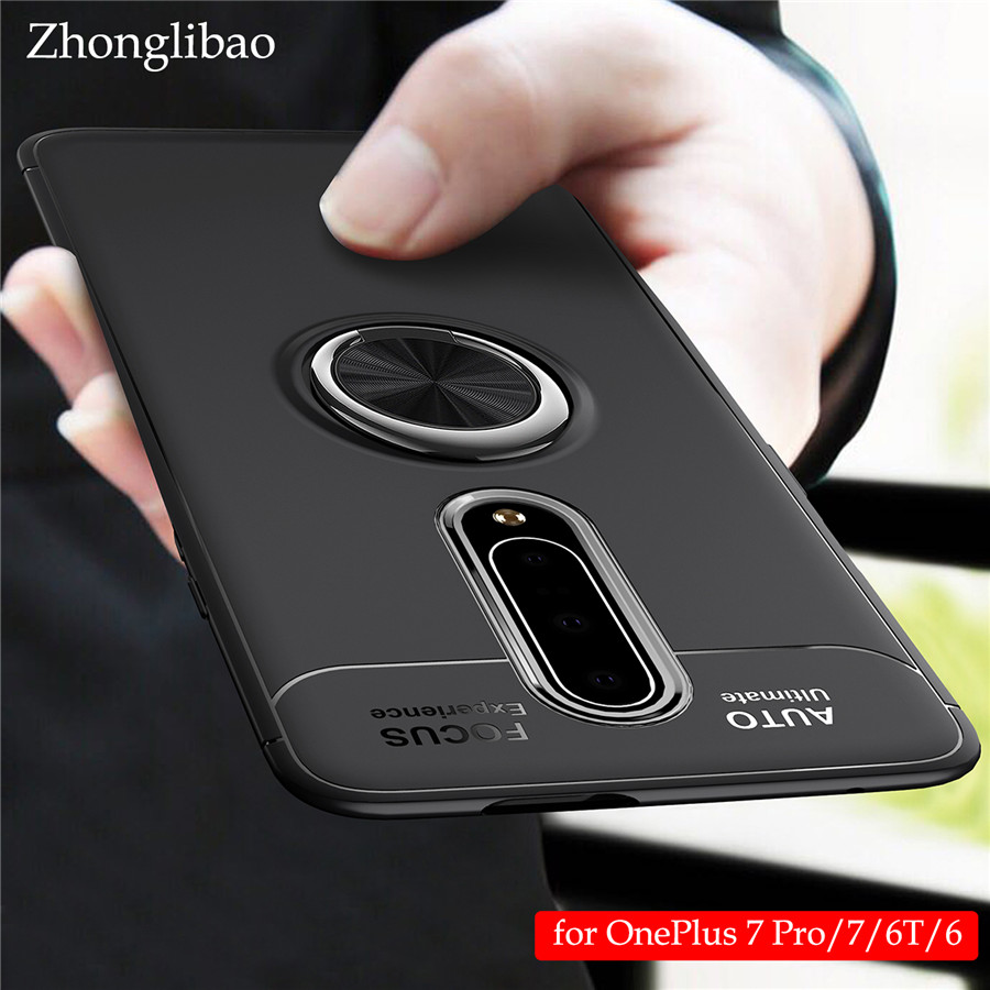 <font><b>One</b></font> <font><b>Plus</b></font> 7 7 Pro 6t <font><b>6</b></font> Silicone Phone <font><b>Case</b></font> for Oneplus 7 Pro 6t <font><b>6</b></font> Magnetic Ring Car Holder Stand Tpu Shockproof Armor Back Cover image