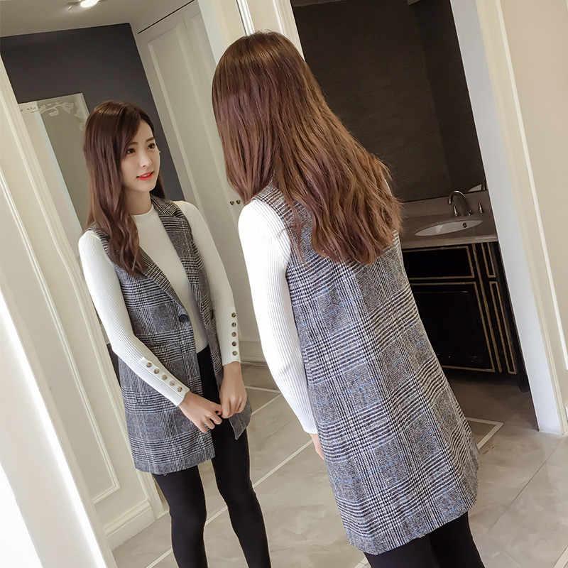 チェック柄ベストのジャケットの女性 2018 春の新作秋ファッションノースリーブブレザーカジュアルトップスプラスサイズスリム男性用ベスト女性 N273