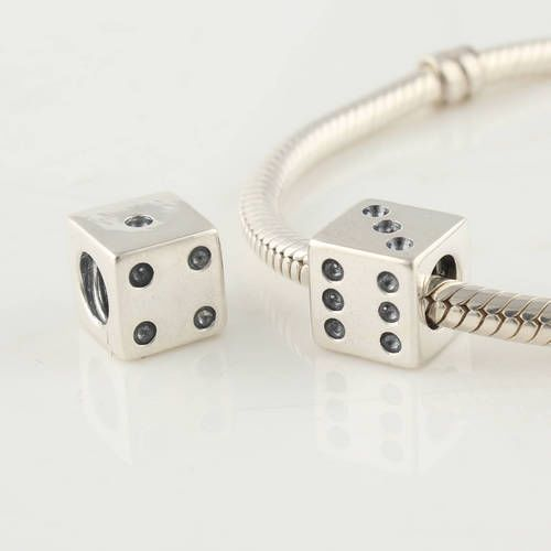 1349f74dd LYDIA 925 Sterling Silver LUCKY DICE CHARM Compatible With For Pandora  Style Charm Bracelets 791269CZ
