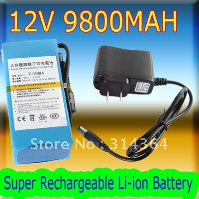 ФОТО 2pcs/lot Super Rechargeable Li-ion Battery DC 12V 9800mAh Long time working Good Quality For CCTV Camera wireless transmitter