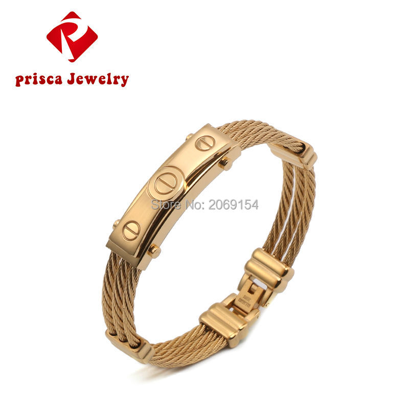 Stainless Steel Bracelet Men Jewelry 2017 Fashion Gold Bracelet Charm Steel Silver Bangle Classic Titanium Wristband Magnetic