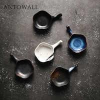 ANTOWALL Retro praktische kleine geschmack teller stäbchen halter öl sojasauce teller keramik hause Japanischen mini gericht