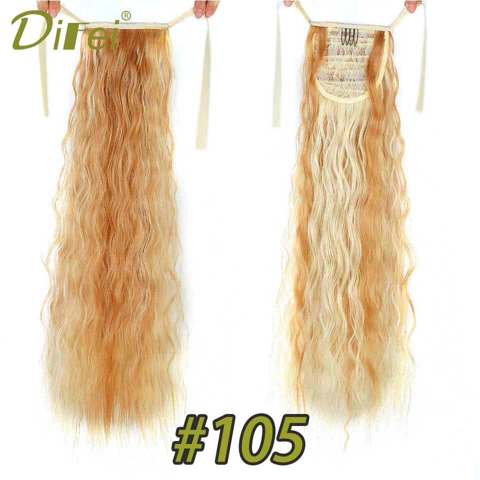 DIFEI 2018 Summer Cool Fashion 22 Loose Wave 10 Colors Synthetic Ponytail Hair Ribbon Drawstring Ponytail Pieces Extension