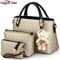 Vogue star pu diseñador bolso de cuero de las mujeres bolsa de mensajero bolsas feminina bolso + bolso de embrague + bolso 3 sets con el oso de juguete ya40-86