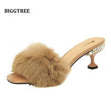 4579e1243 Frete grátis camelo preto roxo branco real de pele de coelho verdadeiro pic  cabelo 6 cm salto com jewerly mulheres senhora sandá.