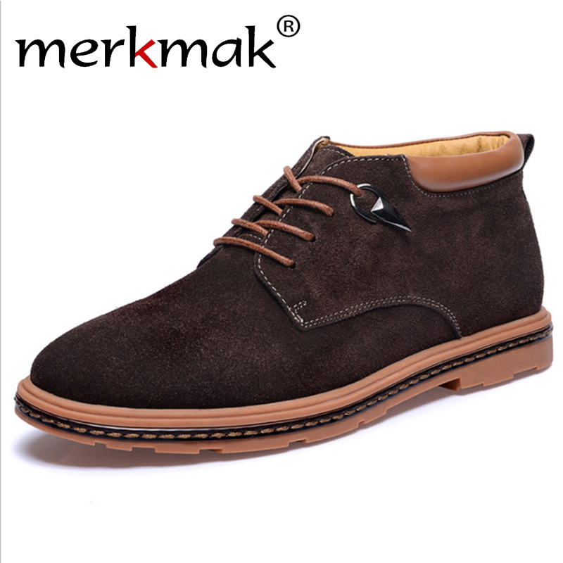 Merkmak Men Ankle Boots Man Suede Leather Boots New Fashion Lace Up Oxford Shoes Outdoor High Top Casual Shoes Men's Snow Boots