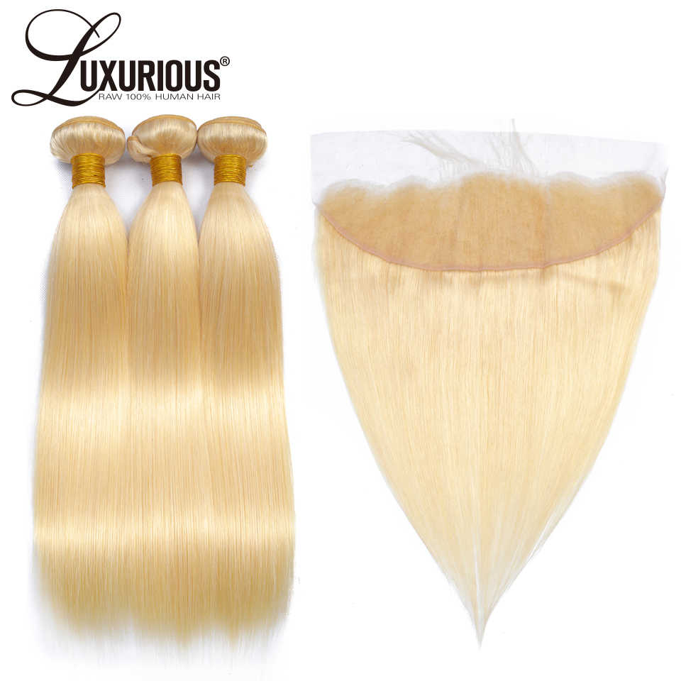 613 Blonde Hair Bundles With Lace Frontal 13*4 Ear to Ear Remy Blonde Brazilian Straight Hair Bundles With Closure Can Be Dyed