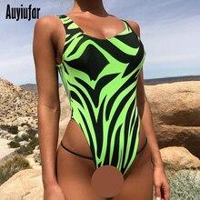 Auyiufar Neon Green Zebra Pattern Bodysuit Backless Overalls for Women Skinny Body O-Neck Sleeveless Holographic Female Jumpsuit