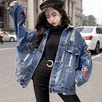 Autumn Loose Jacket Women Denim Coats Streetwear Jeans Jacket Coat Punk Style Ladies Letter Embroidery Large Casaco Feminino