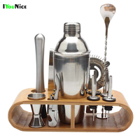 IYouNice 9pcs 550ml Cocktail Shaker Set Jigger Mixing Spoon Tong Barware Bartender Tools w/Wood Storage Stand Bars Mixed Drinks