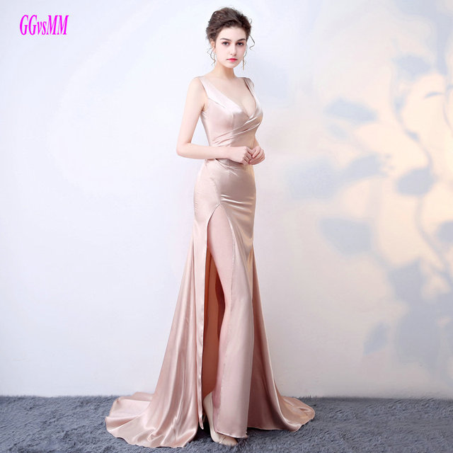 04ed3961f99 Simple Champagne Mermaid Prom Dresses Long 2017Sexy Formal Prom Dress V-Neck  Elastic Satin Pleat Sweep Train Evening Party Gowns