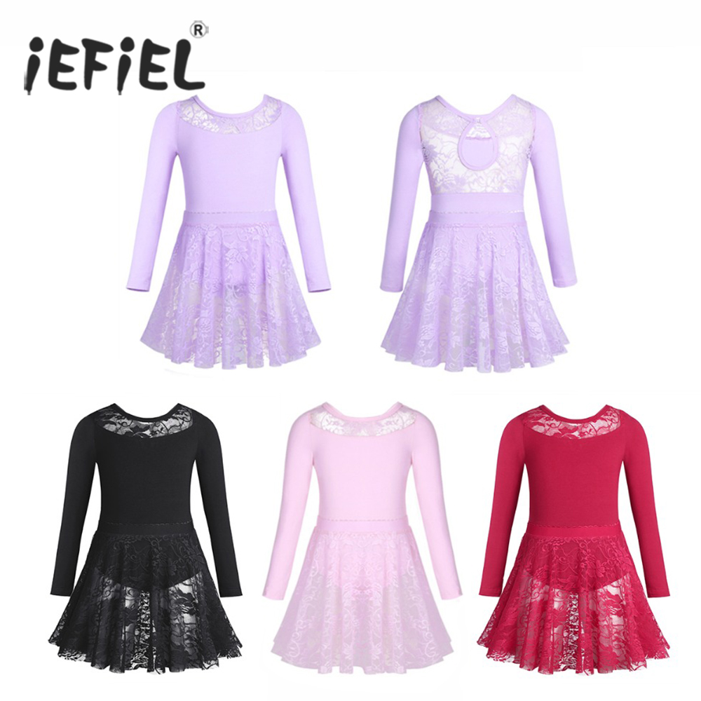 iEFiEL Kids Tutu Dancewear Costumes Ballet Gymnastics Leotards for Girls with Lace Skirt Fancy Ballerina Birthday Party Dress Спортивный бальный танец