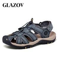 GLAZOV New Fashion Summer Beach Breathable Men Sandals Genuine Leather Men's Sandal Man Causal Shoes Beach Shoes Plus Size 38 45
