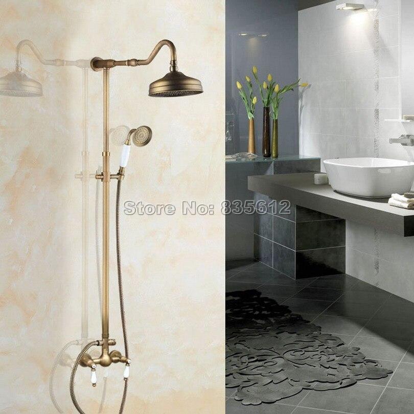 Pomme de douche murale en laiton Antique + douchette + double poignées en céramique ensemble de robinet de douche de pluie robinet mitigeur classique de salle de bains Wan517