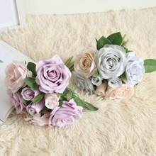 eight heads Cheapest silk Rose Bridesmaid Wedding Foam flowers Rose Bridal bouquet Ribbon Fake Wedding bouquet de noiva 4 Colors