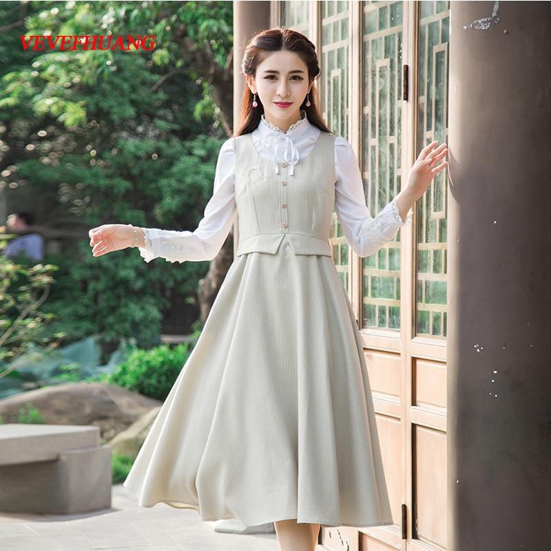 Long Rice Season L0699 Dress Vintage 2018 New Summer Khaki Dresses White Slim Waist Light Autumn Women gxFqwXw1