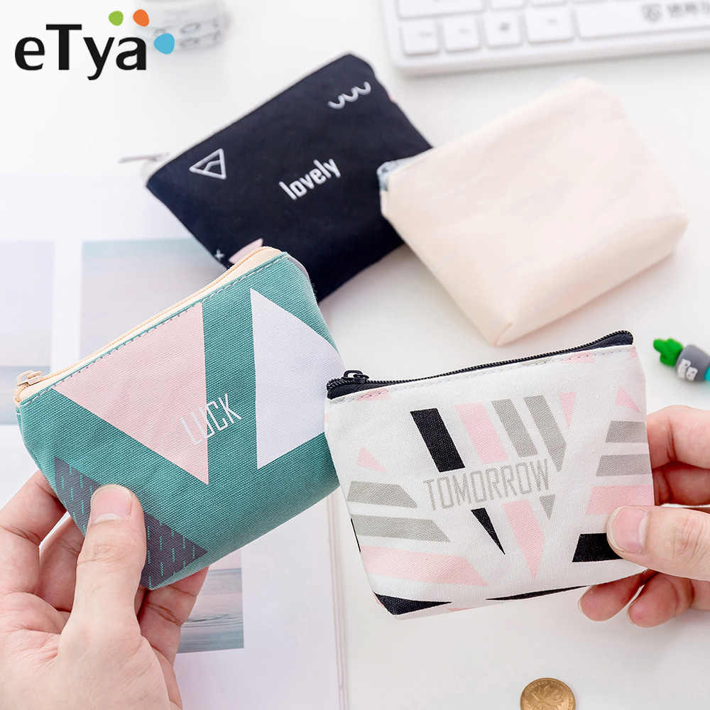 ETya محفظة نقود معدنية عصرية المرأة المحفظة الصغيرة لطيف حامل بطاقة الائتمان مفتاح أكياس المال للسيدات محفظة أطفال الأطفال سستة الحقيبة