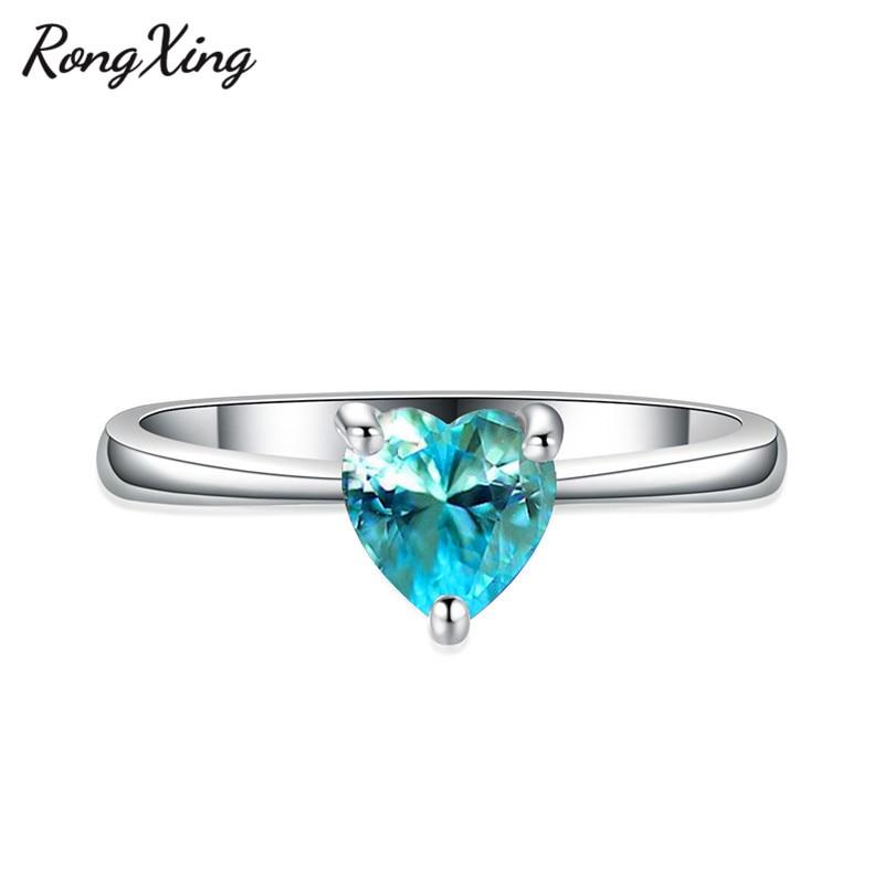 RongXing 925 пробы заполненный серебром браслет с сердцем из опала камень кольца для женщин Винтажная Мода фиолетовый/красный/синий/кольцо с зеленым Цирконом подарок - Цвет основного камня: Lake Blue