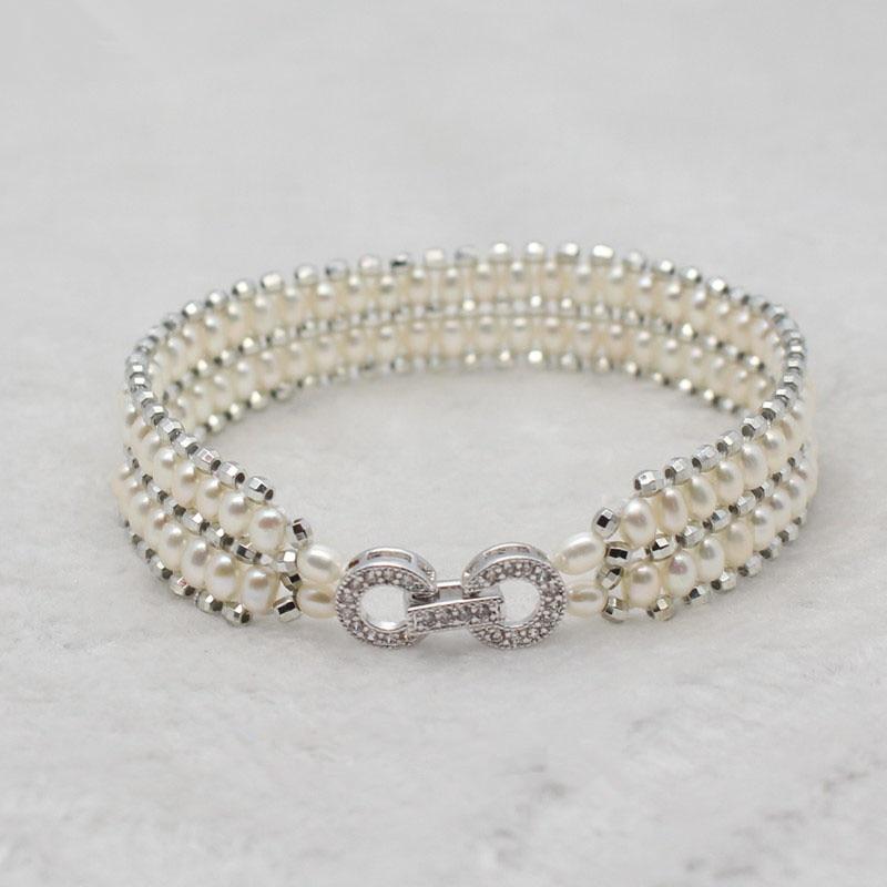 Luksus zirkon Sterling sølv Dobbelt lag ægte Naturperle armbånd - Smykker - Foto 3