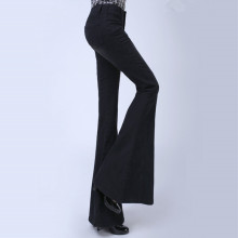 High Fashion Big Flare Leg Black Jeans Woman Sexy Low Rise Push Up Jeans Trousers Skinny Bell Bottom Pants
