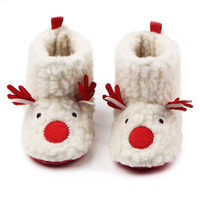 Winter Comfortable Flock Cute Deer Pattern Soft Sole Warm Baby Girls Snow Boots Shoes For 0