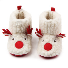 Winter Comfortable Flock Cute Deer Pattern Soft Sole Warm Baby Girls Snow Boots Shoes For 0-15 Months