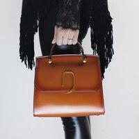 Luxury Hard Bags Women 2018 Latest Handbags Handmade Genuine Leather Button Shoulder Bags Ladies Travel Cross