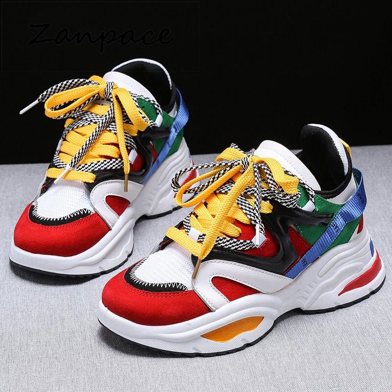 2019 Breathable Women Sneakers Fashion Running Badminton Women Vulcanize Shoes Female Chunky Platform Sneakers Walking Shoes