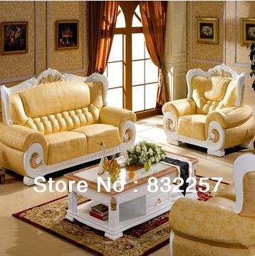 Bon Hotsell Tope Grade New Classical Genuine Leather Sofa European White Light Thick  Leather Living Room Furniture