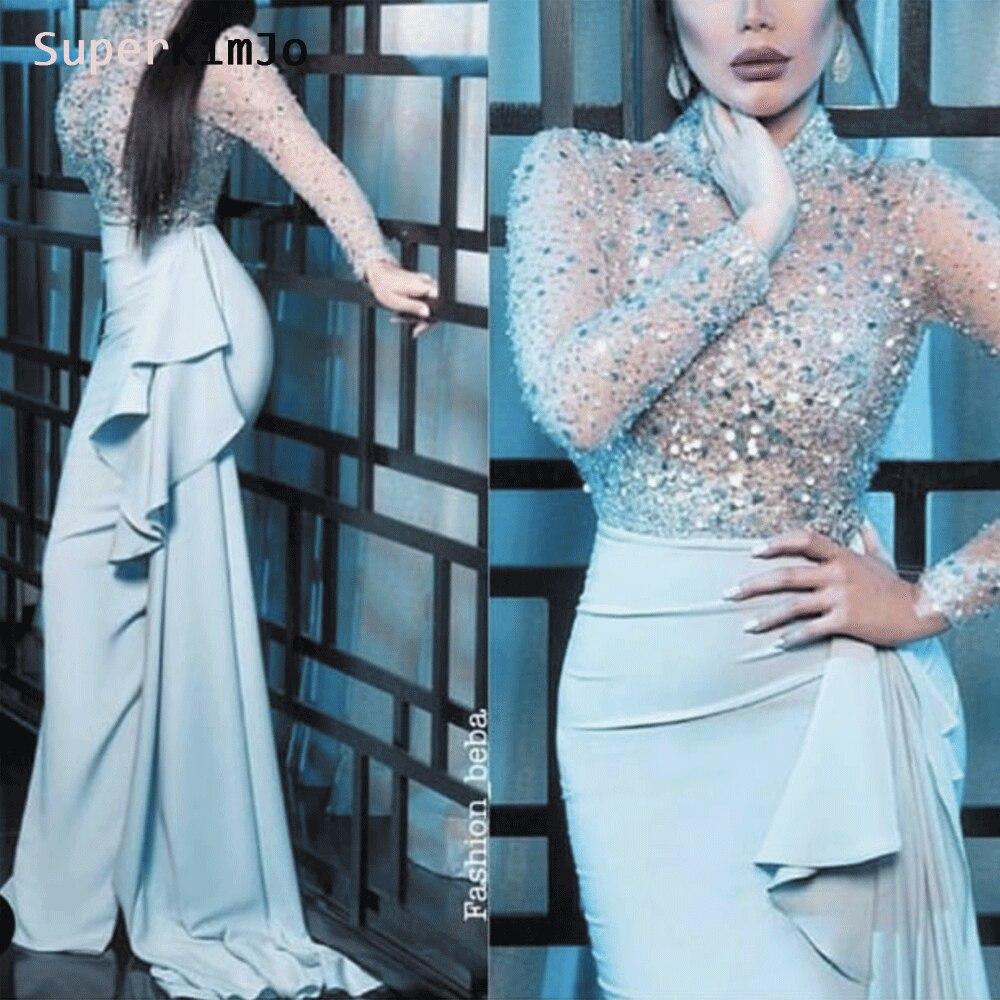 SuperKimJo luxe perlée robes De soirée 2019 sirène à manches longues argent sirène robe De soirée Vestido De Festa