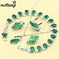 Mujeres de Cuatro Piezas Verde Esmeralda Moda 925 Sistemas de La Joyería de Plata de Lujo Imitado Collar Pulsera Anillo Arete Caja Libre