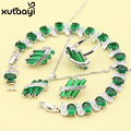 Women Four Piece Green Imitated Emerald  Fashion 925 Silver Jewelry Sets Fancy Necklace Ring Earring Bracelet Free Box