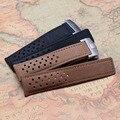 22mm de Alta calidad Correa de reloj para relojes de lujo para hombre accesorios correas de Reloj Del Cuero Del Zurriago suave suave con plata despliegue