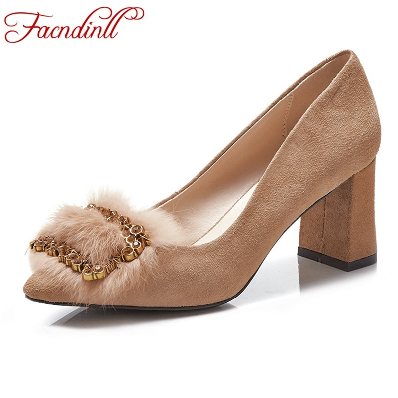 FACNDINLL new spring women pumps high heels pointed toe shoes woman dress party wedding pumps genuine leather pumps high quality