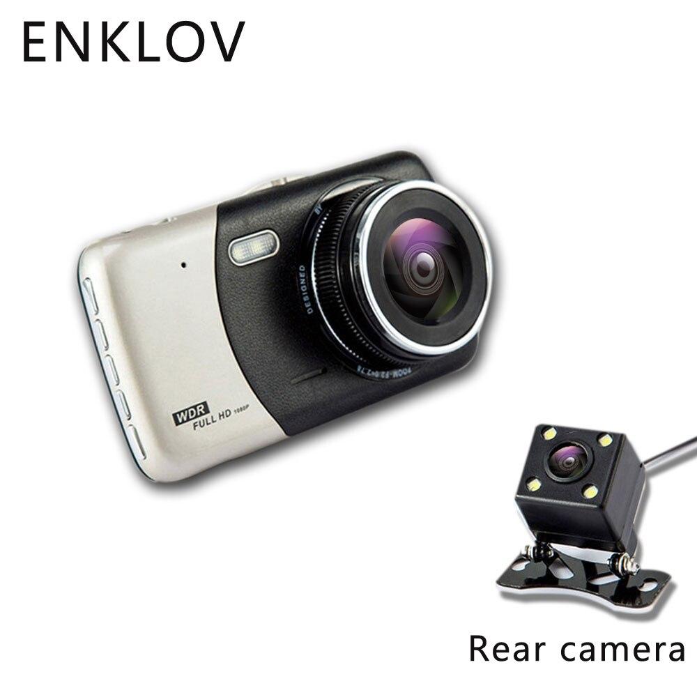 ENKLOV 4.0 pollice IPS Dello Schermo Dell'automobile DVR Videocamera per auto Full HD 1080 p Video 170 Gradi T810 Dash Cam Registrazione Duale macchina Fotografica del precipitare Riempire Ligh