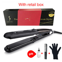 Hair Styling Accessories Hair Straightener Ceramic Steam Flat Iron Vapor Plate Wet/Dry Hair Iron Steamer Styling Tool