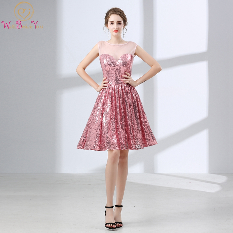 Pink Sequined Cocktail Dres Sleeveless O Neck Mini Above Knee Skirt A-line Simple Reflective Attractive Popular Cocktail Gown