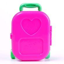 3D Kid Child Wheel Travel Train Suitcase Luggage Case Doll House Dress Toys Dollhouse Furniture 65370