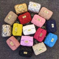 Princeness Baby Metal Chain Bucket Messenger Bags 16 Colors Fashion Kids Girls PU Diamond Lattice Shoulder