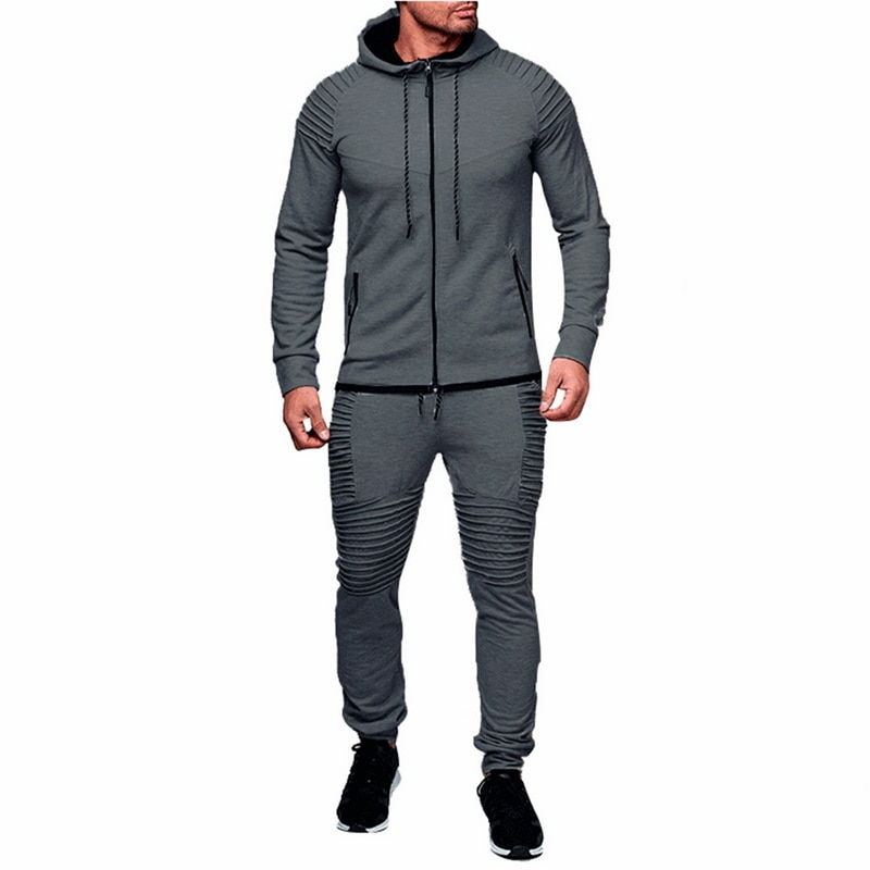 HTB1MJe8ayzxK1RjSspjq6AS.pXaS HEFLASHOR Men Drawstring Sportwear Set Fashion Solid Sweatshirt&Pants Tracksuit Casual Zipper Hoodies Outwear Clothes 2019