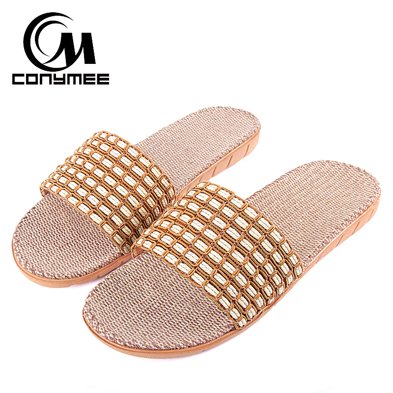 CONYMEE Summer Flip Flops Men Flax Home Slippers 2018 Beach Sandal Shoes For Men Casual Sneakers Indoor Slipper Linen Sandals conymee jd xtw home slippers