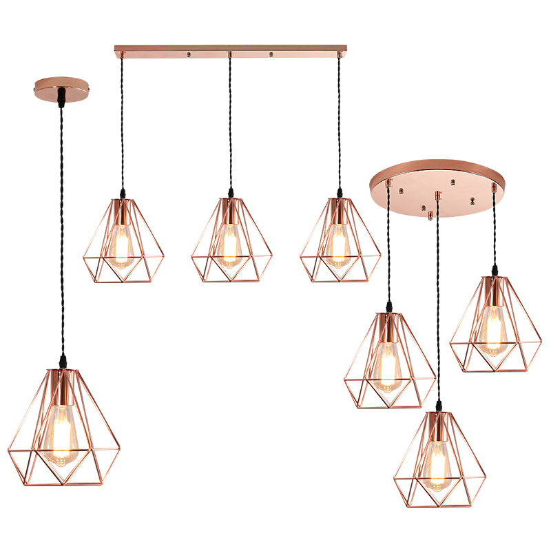 Nordic modern simple restaurant chandelier loft creative three lamps rose gold diamond iron bar individual lights