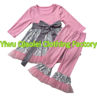 2018卸売赤ちゃんの女の子扮ブティックリメイクファッションかわいい女の子ピンクのドレスでフリルレースパンツ