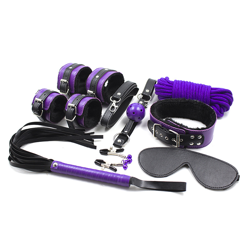 Buy Purple Sex Bondage Toys 8pcs/Set PU Leather Sexy Product Set Whip Handcuffs Rope Ball Gag Blindfold Sex Toys Couples